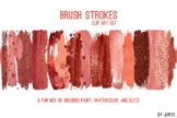 Red Coral Brush Strokes Paint Glitter Foil Watercolor 20 P