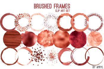Red Coral Brushed Round Frames Paint Glitter Watercolor 20 PNG Clip Art 8in S4