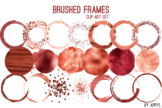 Red Coral Brushed Round Frames Paint Glitter Watercolor 20