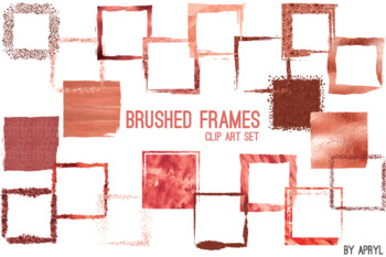 Red Coral Brushed Square Frames Paint Glitter Watercolor 20 PNG Clip Art 8in S4