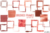 Red Coral Brushed Square Frames Paint Glitter Watercolor 2