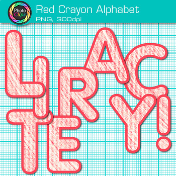 Red Crayon Alphabet Clip Art {Great for Classroom Decor & Resources}