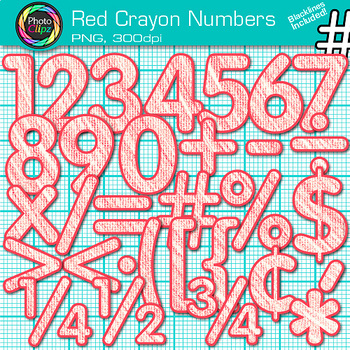 Red Crayon Math Numbers Clip Art {Great for Classroom Deco