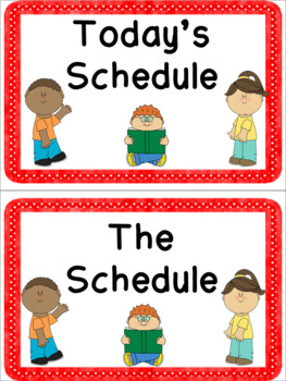 Red Daily Schedule with Visual Pictures