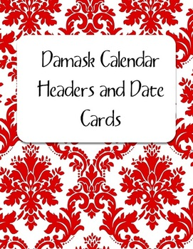 Red Damask Calendar Kit: Headers and Date Cards
