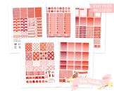 Red Damask Printable Planner Weekly kit Stickers fits Erin