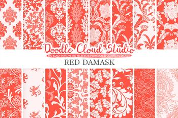 Red Damask digital paper, Swirls patterns, Digital Floral Damask, Scarlet