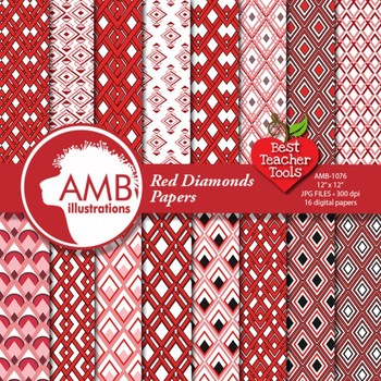 Red Diamond Geometric Pattern Digital Papers and Backgrounds, AMB-1076
