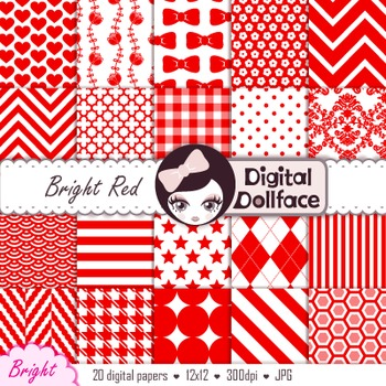 Red Digital Paper Pack, Chevron, Gingham, Polka Dots