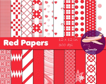 Red Digital Papers for Backgrounds, Scrapbooking and Classroom Decorations