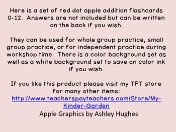 Red Dot Apple Addition Flashcards 0-12