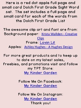 Red Dot Apple Dolch 1st Grade High Frequency Sight Word Flashcards & Posters