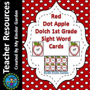 Red Dot Apple Dolch 1st Grade Sight Word Flashcards & Posters