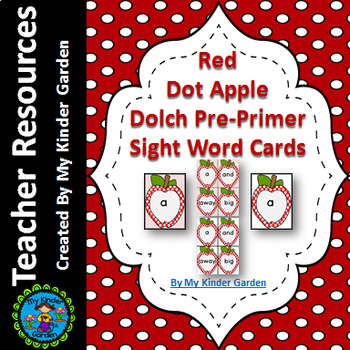 Red Dot Apple Dolch Pre-Primer High Frequency Sight Word Flashcards & Posters
