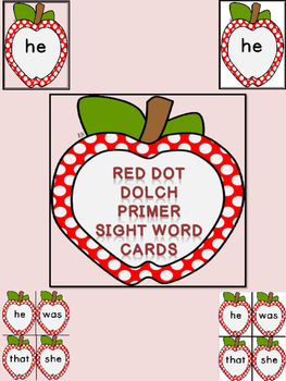 Red Dot Apple Dolch Primer Sight Word Flashcards & Posters