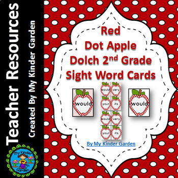 Red Dot Apple Dolch 2nd Grade High Frequency Sight Word Flashcards & Posters