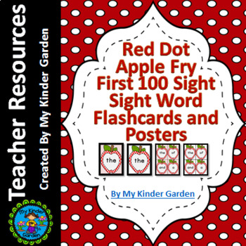 Red Dot Apple  Fry First 100 High Frequency Sight Word Flashcards and Posters