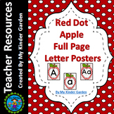 Red Dot Apple Full Page Alphabet Letter Posters / Word Wall Headers