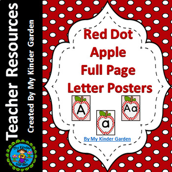 Red Dot Apple Full Page Alphabet Letter Posters