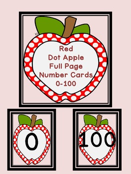 Red Dot Apple Full Page Number Posters 0-100