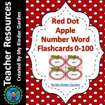 Red Dot Apple Number Word Flashcards Zero To One Hundred