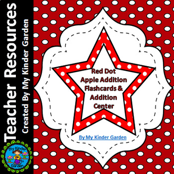 Red Dot Star Math Addition Flashcards 0-12 and Addition Math Center