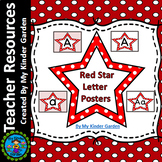 Red Dot Star Alphabet Letter Posters / Word Wall Headers