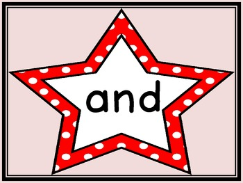Red Dot Star  Dolch Pre-Primer Sight Word Flashcards and Posters
