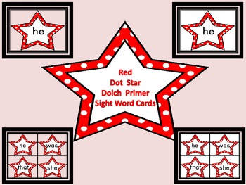 Red Dot Star  Dolch Primer Sight Word Flashcards and Posters