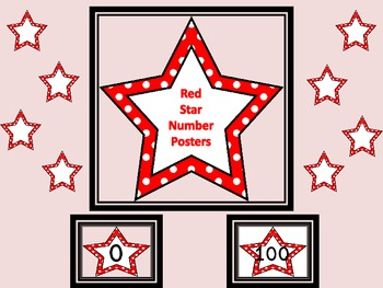 Red Dot Star Full Page Number Posters 0-100