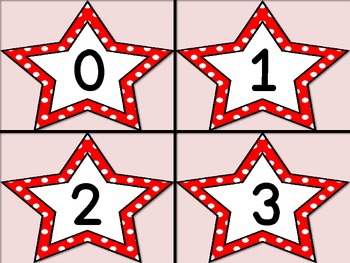 Red Dot Star Number Flashcards 0-100