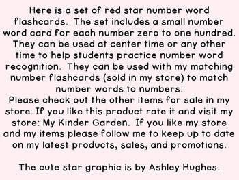 Red Dot Star Number Word Flashcards Zero To One Hundred