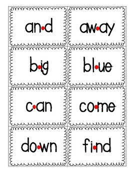 Red Dot Strategy Sight Word Cards - Dolch Pre-Primer List