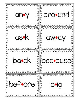 Red Dot Strategy Sight Word Cards - Fry 2nd 100