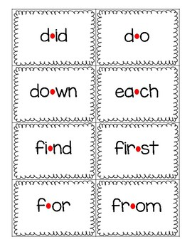 Red Dot Strategy Sight Word Cards - Fry's First 100
