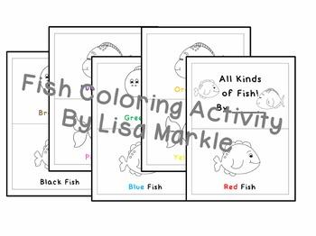Preschool Fish Themed Emergent Reader Coloring Activity