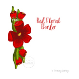 Red Floral Art Border - floral clip art Printable Tracey Gurley Designs