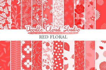 Red Floral digital paper, Scarlet Floral patterns, Flowers, Dhalia, Leaves.