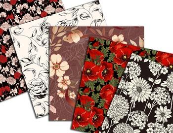 Red Flower Digital Paper Black and Red Flower Digital Scrapbooking Paper Pack