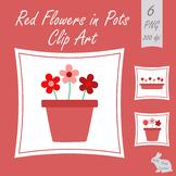 Flowers Plant Pots Clip Art Red Clipart Garden Spring Summer