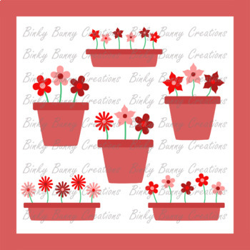 Flowers Plant Pots Clip Art Red Clipart Garden Spring Summer