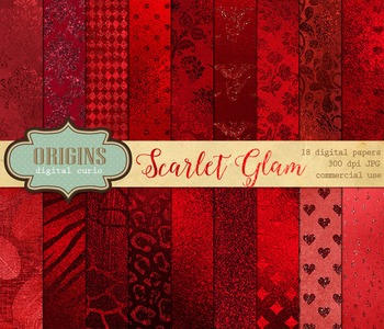 Red Foil Glitter Digital Paper Scrapbooking Backgrounds Textures