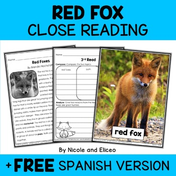 Close Reading Red Fox Activities