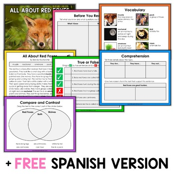Red Fox Reading Comprehension for Google Classroom