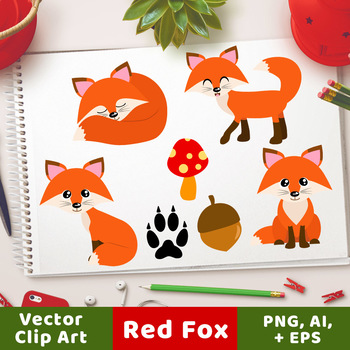 Red Foxes Clipart, Forest Animals, Cute Fox Clipart, Woodland Clipart
