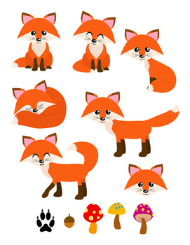 Fox woodland. Red foxes clipart forest
