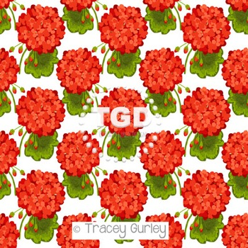 Red Geraniums digital paper Printable Tracey Gurley Designs