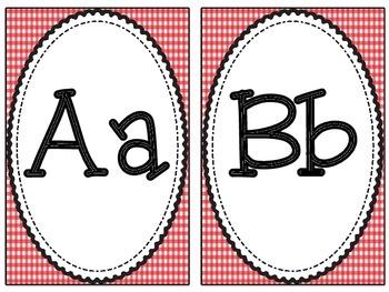 Red Gingham Alphabet Set