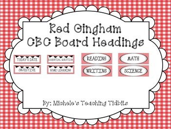 CBC Board Headings: Red Gingham
