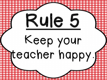 Classroom Rules: Red Gingham